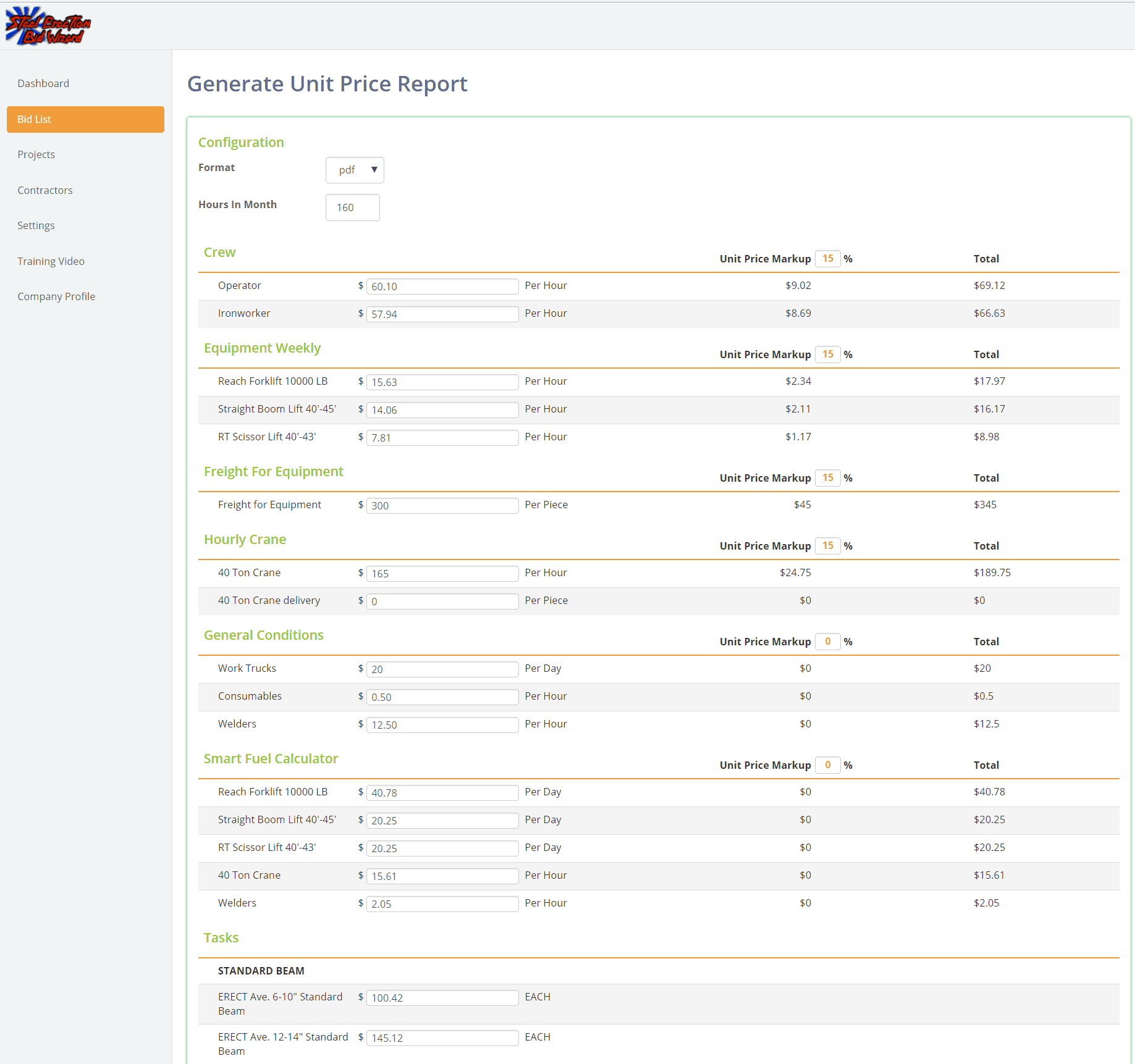 Steel Erection Bid Wizard New Job Cost & Unit Price Reports